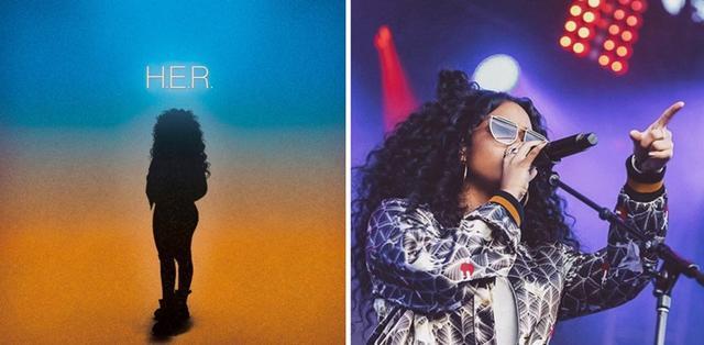 画像: 左・アルバム『H.E.R.』のカバー/右・パフォーマンスの様子