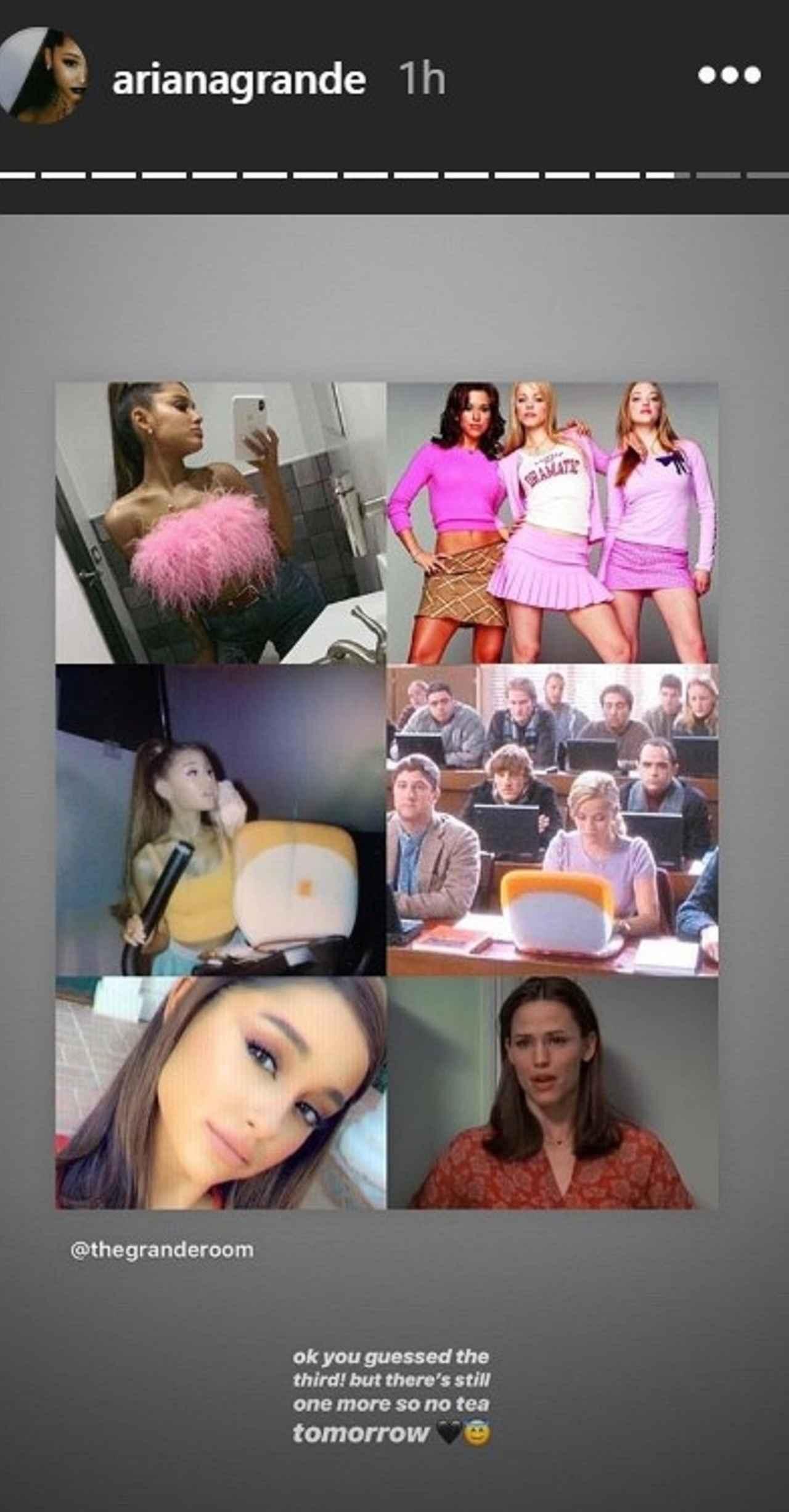 画像: ファンが制作したアリアナがSNSで公開した写真と各映画のシーンを比較した画像。上から『ミーン・ガールズ』、『キューティ・ブロンド』、『13 ラブ 30 サーティン・ラブ・サーティ』との比較。©Ariana Grande/ Instagram