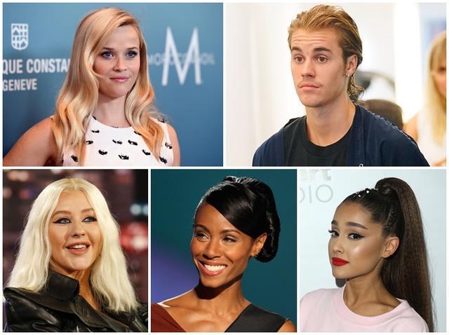 画像: 左上から時計回りに、リース・ウィザースプーン、ジャスティン・ビーバー、アリアナ・グランデ、ジェイダ・ピンケット・スミス、クリスティーナ・アギレラ。