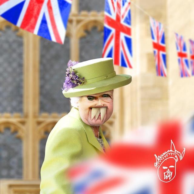 """画像1: Things I have drawn on Instagram: """"A glimpse of Her Majesty, in lovely lime green. ___ Hi everyone. Tom here, the boys' dad. I would have posted this royal wedding pic…"""" www.instagram.com"""