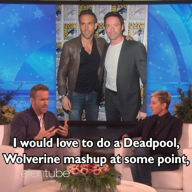 "画像1: Ellen on Instagram: ""@VancityReynolds might be a little obsessed with @TheHughJackman."" www.instagram.com"