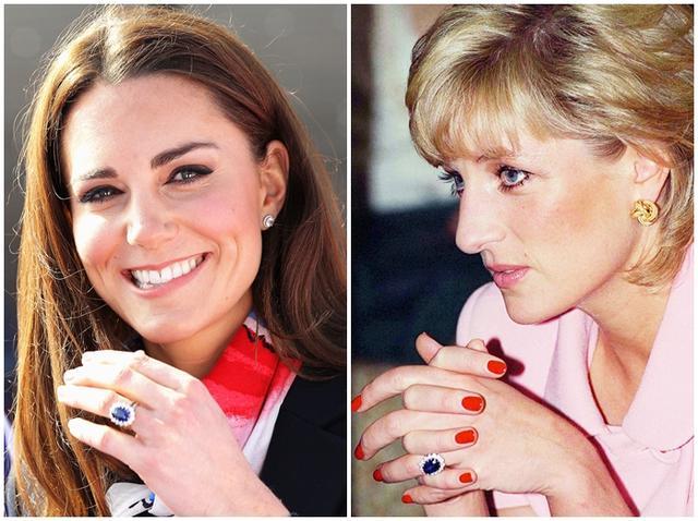 画像: キャサリン妃の指先には、ダイアナ妃が婚約指輪として着用していた大粒のサファイアの周りをダイヤモンドが囲む指輪が光っている。
