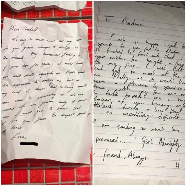 画像: ファンが投稿したケンダル宛てのラブレターの文字とハリーの手書き文字の比較画像。©capricornmmith/Twitter twitter.com