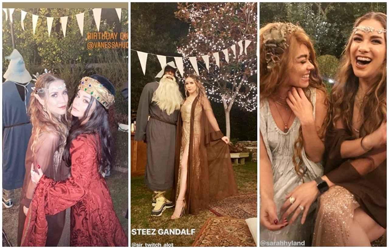 画像: 男性ゲストの中には、『ロード・オブ・ザ・リング』に登場する魔法使いガンダルフの衣装で参加した人も(写真中央)。ドラマ『モダン・ファミリー』で知られる女優のサラ・ハイランドも出席(写真右)©Allison Holker/Instagram