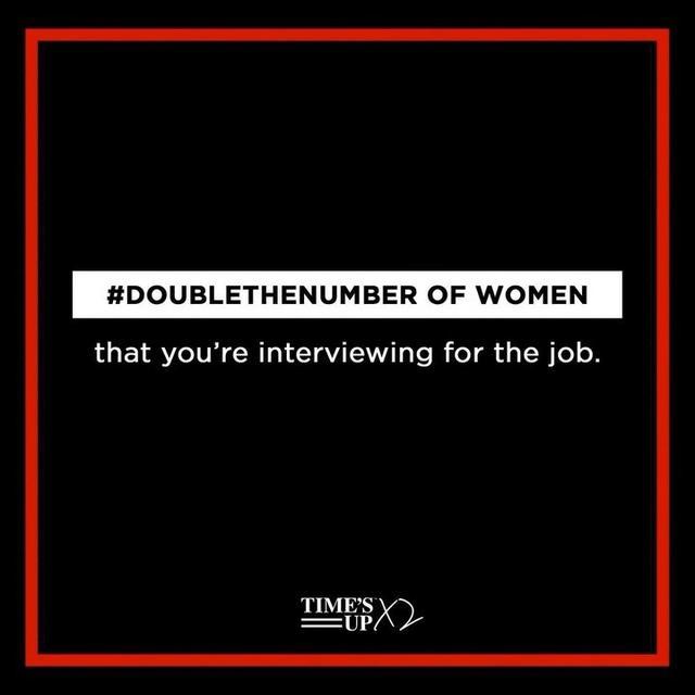 """画像1: TIME'S UP on Instagram: """"We need to #DoubleTheNumber of women in leadership and across other spaces where women are underrepresented. Join us at the link in bio.…"""" www.instagram.com"""