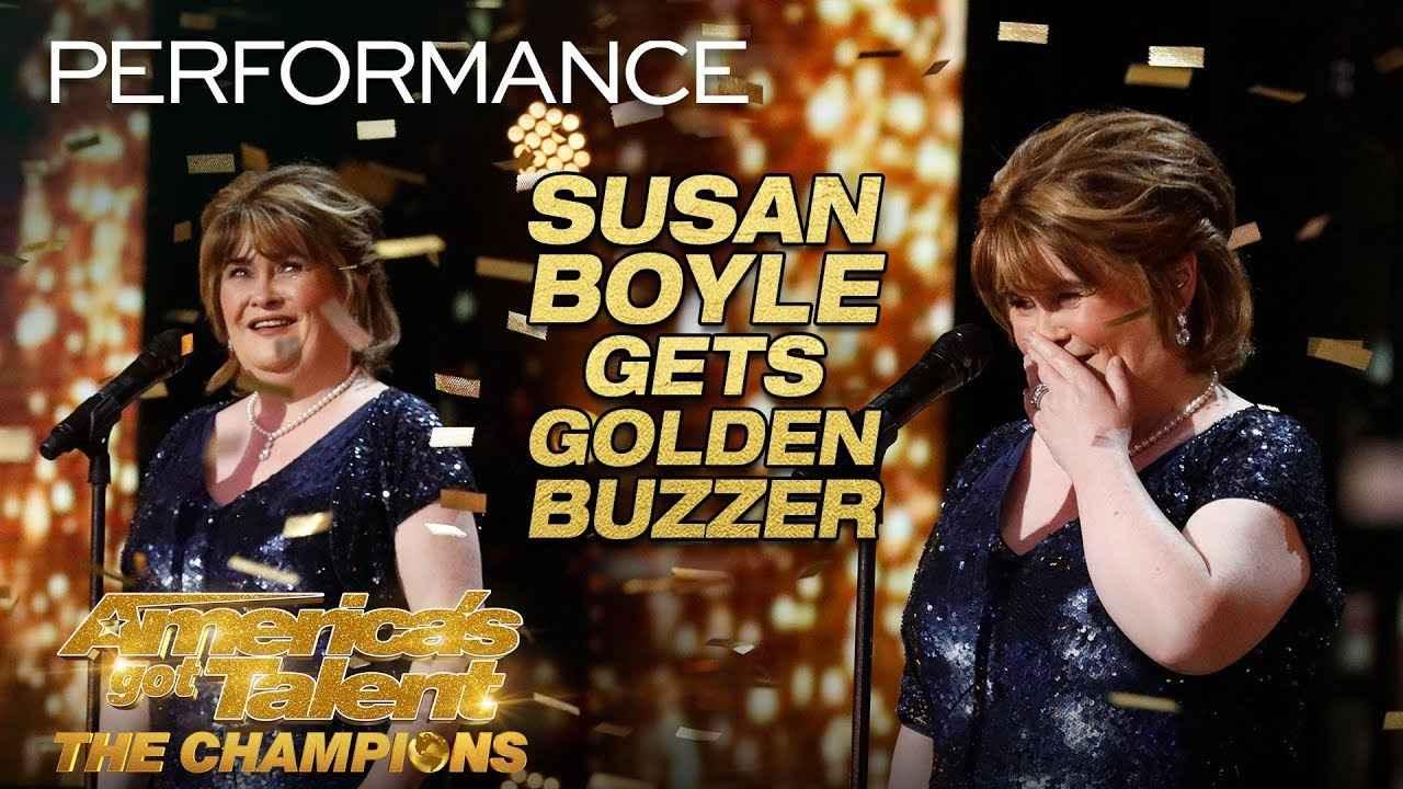 """画像: Susan Boyle Earns Golden Buzzer With Iconic """"Wild Horses"""" - America's Got Talent: The Champions www.youtube.com"""