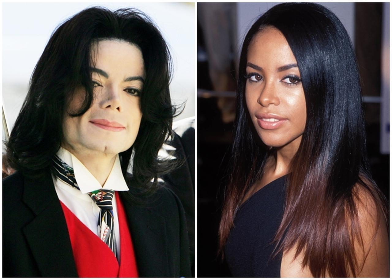 画像: 左:マイケル・ジャクソン。右:アリーヤ。アリーヤは2001年、飛行機事故により21歳という若さで死去。