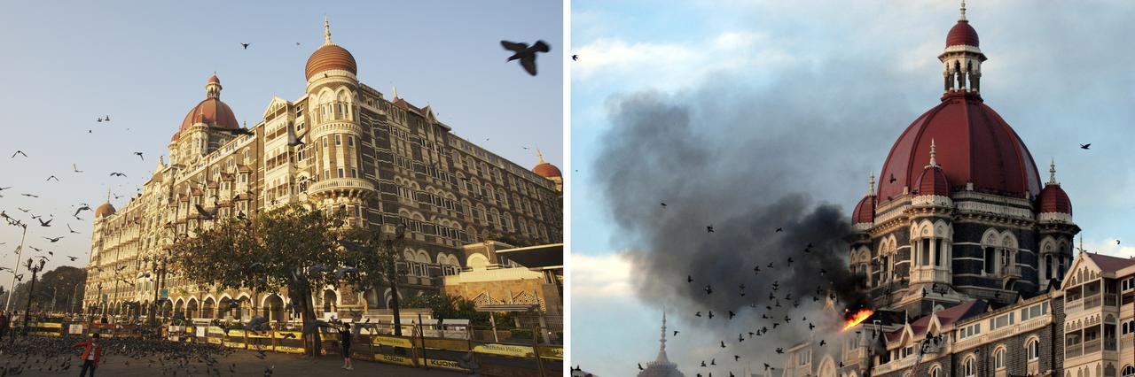 画像: 左/実際にあるタージマハル・ホテル 右/テロが起こったときのホテルの様子
