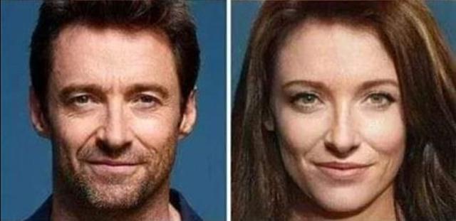 画像: 右が写真加工アプリで女性化したヒューの画像。 twitter.com