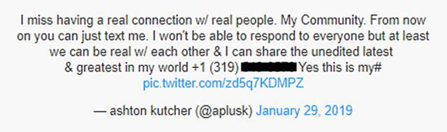 画像: Twitter/Ashton Kutcher ※同ツイートは現在削除されているため、番号の掲載は控えさせていただきます。