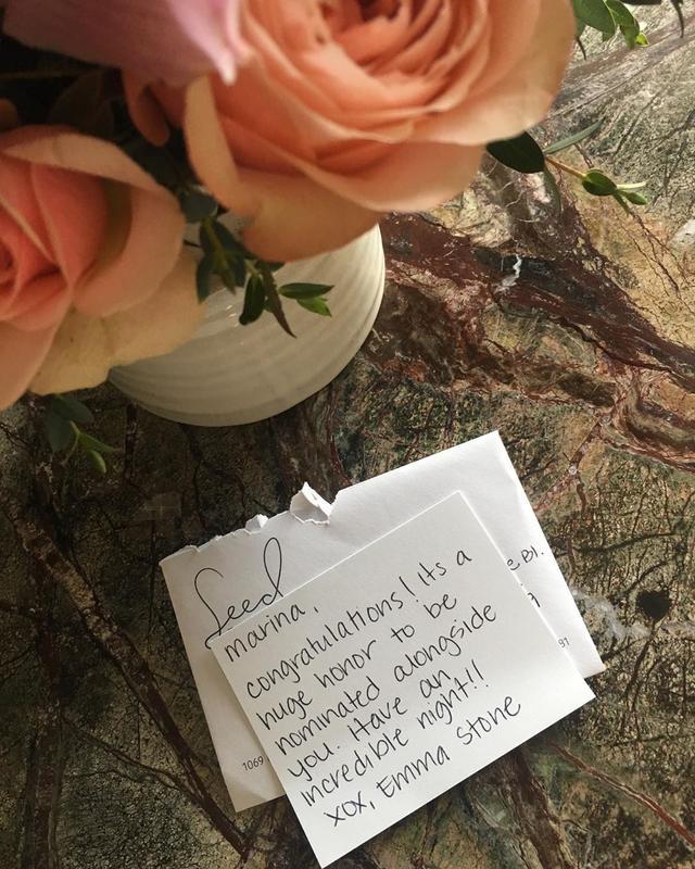 """画像1: Marina de Tavira on Instagram: """"Good morning! The honor is all mine #EmmaStone what an incredible way to start the day. @theacademy  El honor es todo mío. ¡Que bella…"""" www.instagram.com"""