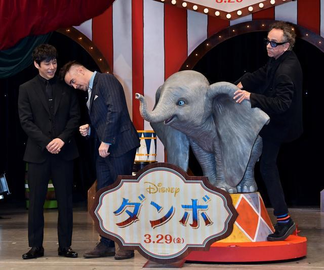 画像: 左から:西島秀俊、コリン・ファレル、ティム・バートン監督。