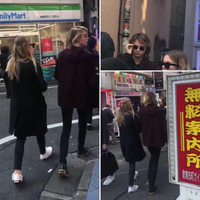 """画像1: Cashley on Instagram: """"Cara and Ashley walking on the streets of Tokyo. ✨ [swipe for videos]  Tokyo, Japan  March 31, 2019  #caradelevingne #ashleybenson ."""" www.instagram.com"""