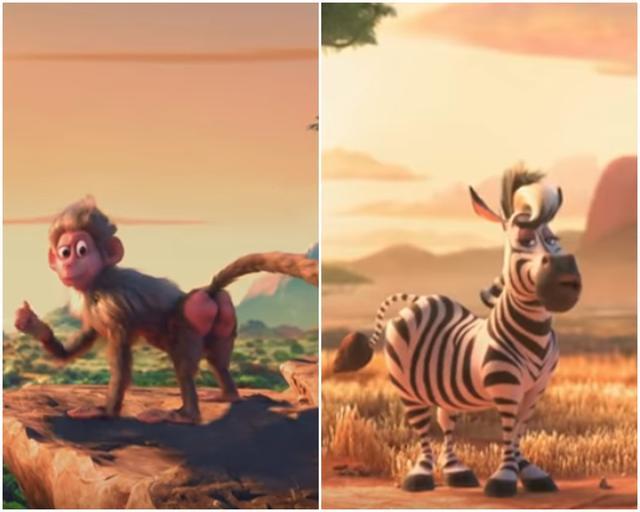 """画像: 左がジャスティン扮するバブーンで、右がアリアナ扮するシマウマ。リルは""""人間役""""で登場する。"""