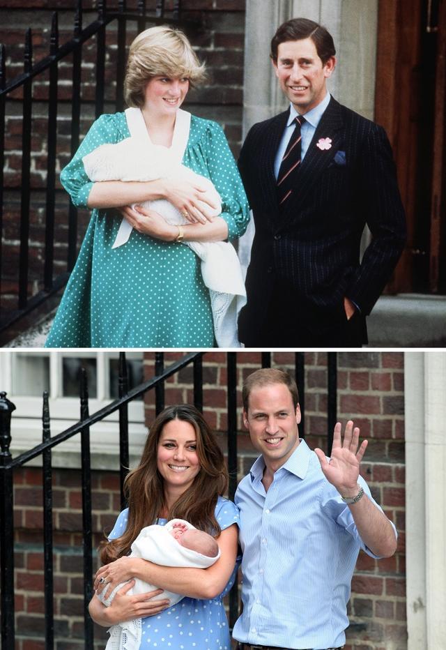 画像: 上:ウィリアム王子出産後にお披露目会見を行なったダイアナ妃とチャールズ皇太子。下:キャサリン妃&ウィリアム王子の長男ジョージ王子のお披露目の様子。
