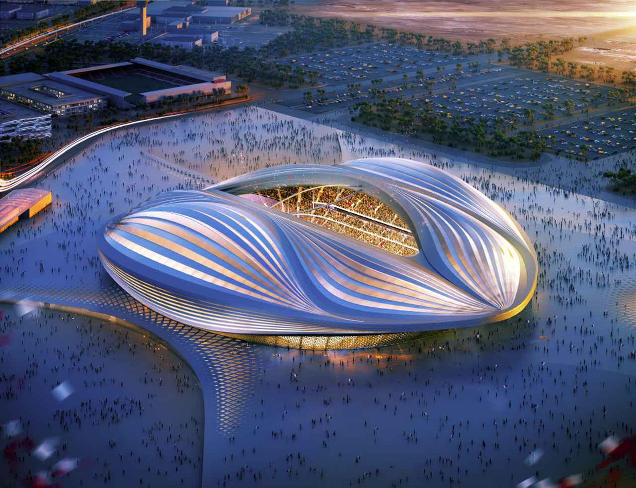 画像: アル・ワクラ・スタジアムの構想図。元は収容人数2万人だったがW杯に合わせて4万人収容できるスタジアムへと生まれ変わった。
