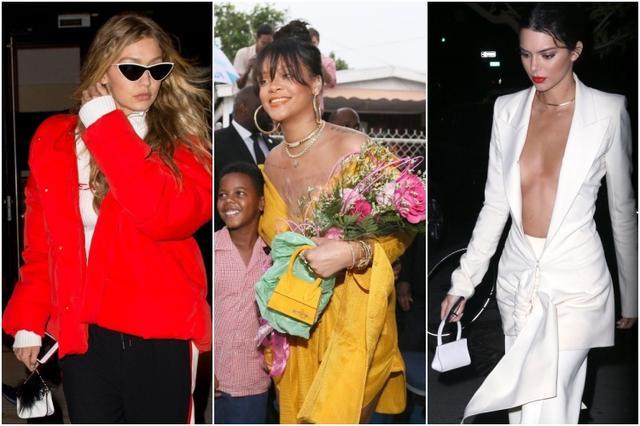 画像: マイクロバッグを愛用するセレブたち。左から:モデルのジジ・ハディッド、シンガーのリアーナ、モデルのケンダル・ジェンナー。