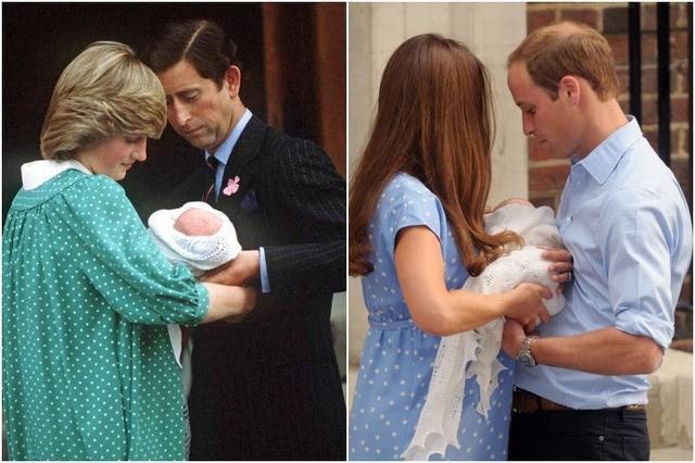 画像: 病棟玄関から出てくる際には、父親であるチャールズ皇太子やウィリアム王子がベビーを抱く姿も見られたが、記念撮影の際には、いずれの場合も、ベビーは母であるダイアナ妃、キャサリン妃に手渡されていた。