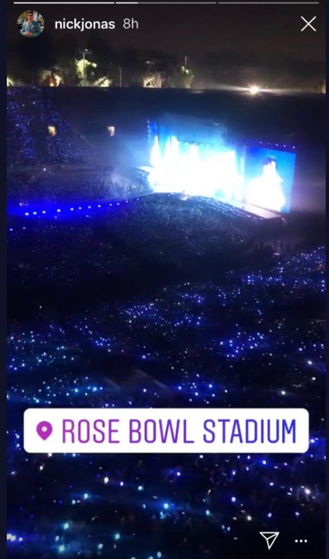 画像: ニック・ジョナスがBTSの公演を訪れた際にインスタグラムにアップした会場の様子。