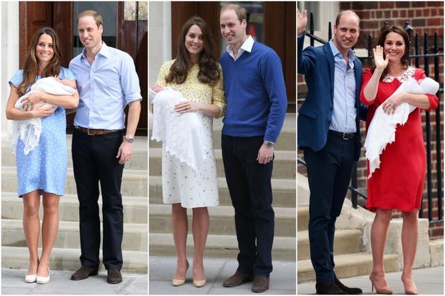 画像: キャサリン妃&ウィリアム王子のベビーお披露目会見の様子。左:ジョージ王子のお披露目会見(2013年)、中:シャーロット王女(2015年)、右:(ルイ王子)。