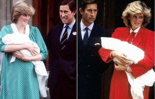 画像: ダイアナ妃&チャールズ皇太子のベビーお披露目会見の様子。左:ウィリアム王子(1982年) 右:ヘンリー王子(1984年)。