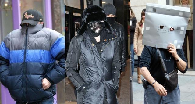 画像: 逆に目立っちゃう方法で顔を隠す大御所セレブたち。左から:俳優のレオナルド・ディカプリオ、シンガーのマドンナ、俳優のダスティン・ホフマン。