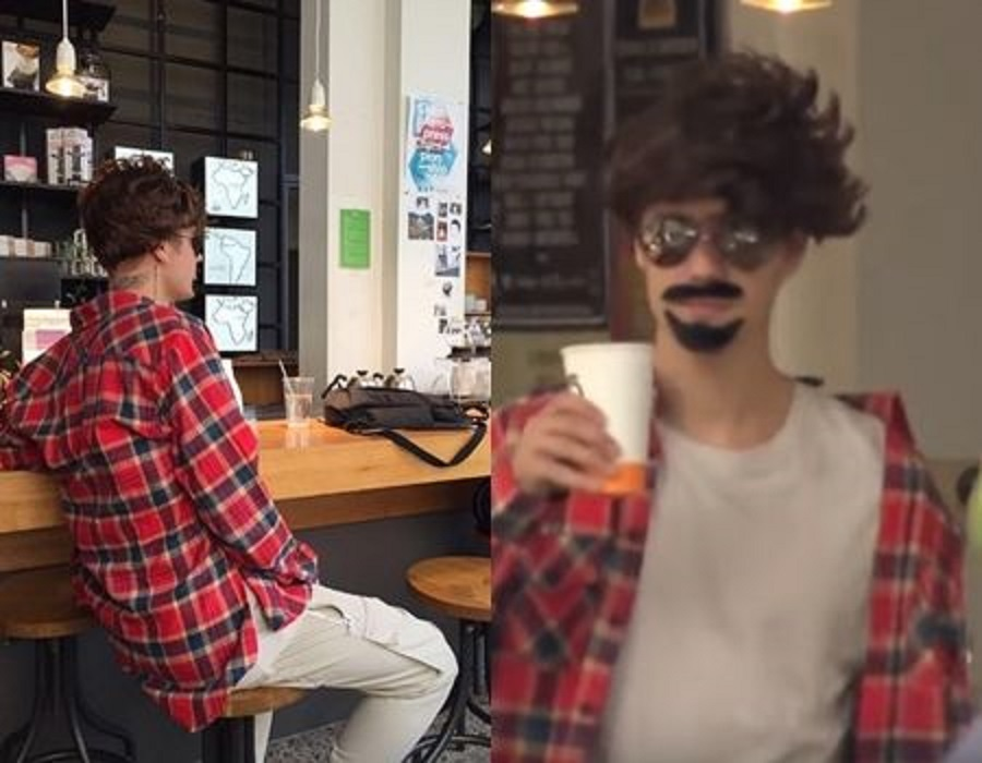 画像: 雑な変装でオランダ・アムステルダムのカフェに出没したシンガーのジャスティン・ビーバー。