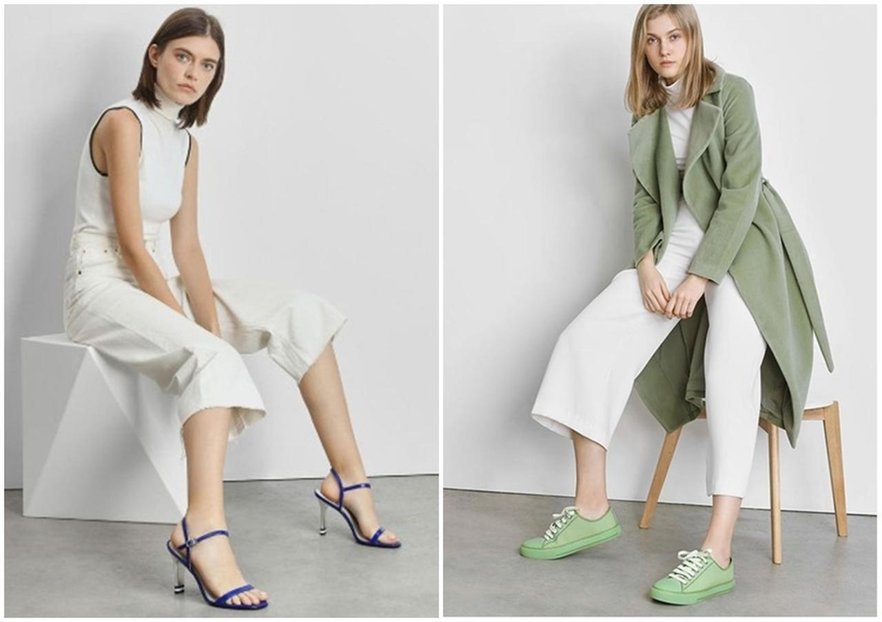 画像: アンクルストラップ ヒールサンダル / Ankle Strap Heeled Sandals (Blue)/ ¥6,500(税抜) / トータルフュー キャンバススニーカーズ / Total Hue Canvas Sneakers (Sage Green)¥6,500(税抜)