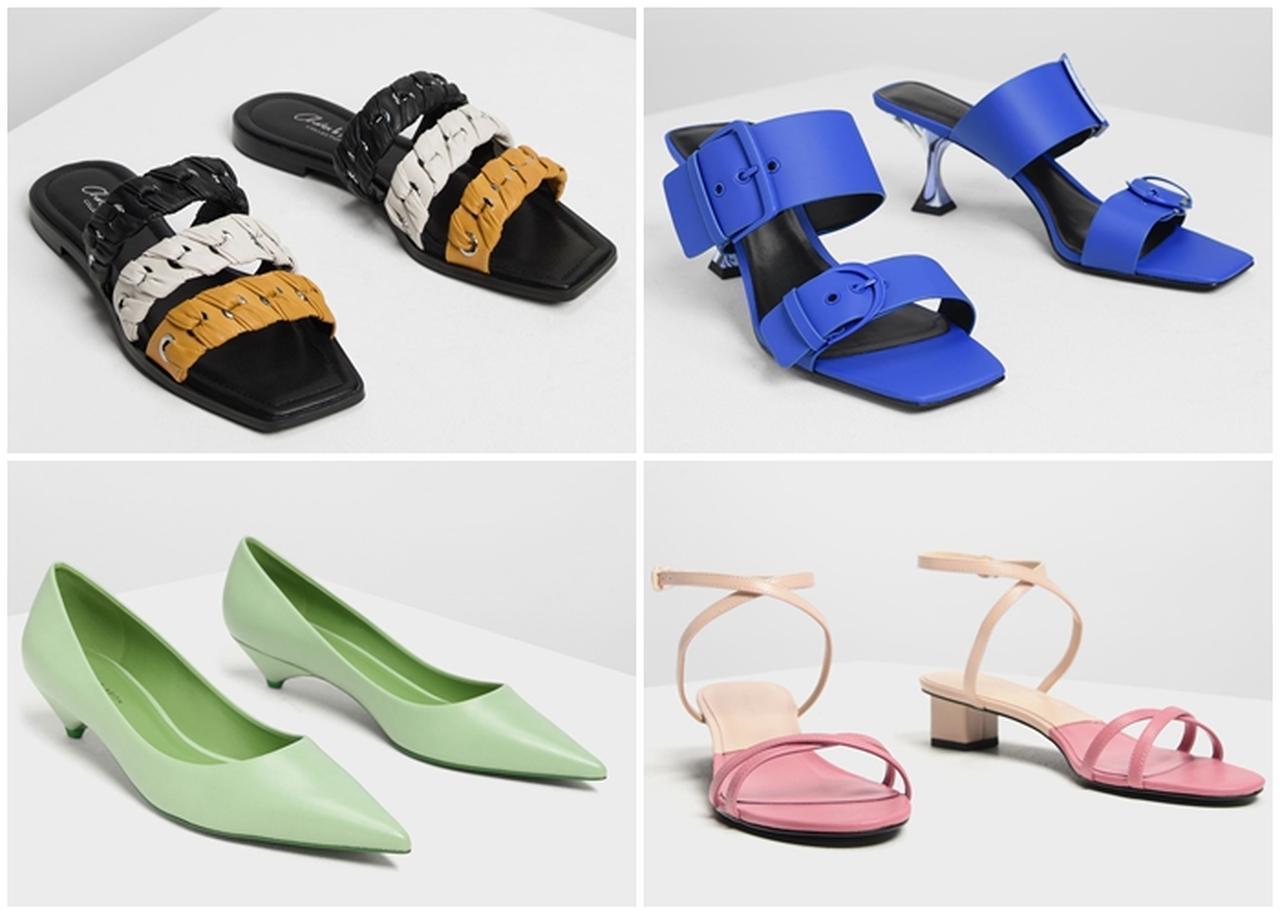 画像: (写真左上から時計まわり)ウェーブディテール レザースリッポン / Weave Detail Leather Slip-Ons (Multi)¥7,500(税抜) / スクエアトゥ ヒールミュール / Square Toe Heeled Mules (Blue)¥5,900(税抜) / クラシック ポインテッドパンプス / Classic Pointed Pumps (Sage Green)¥5,500(税抜) / クリスクロス ミディサンダル / Criss Cross Midi Heel Sandals (Pink)¥5,500(税抜)