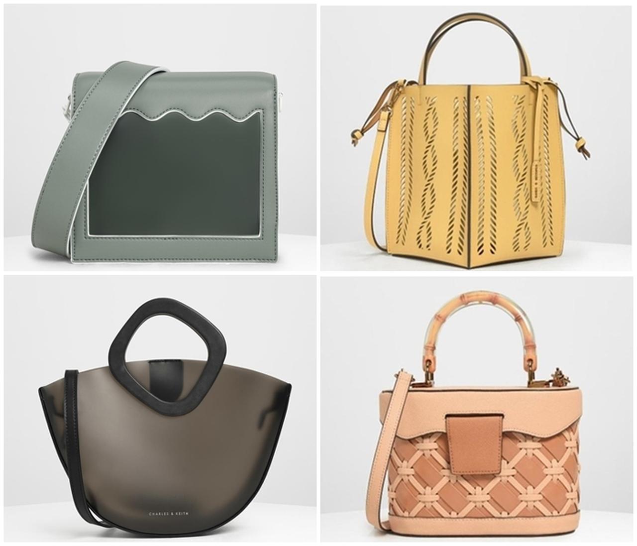 画像: (写真左上から時計まわり)ウィンドウ クロスボディバッグ / Window Crossbody Bag (Moss)¥9,900/ セミシースルー バケツバッグ / Semi See-through Bucket Bag (Yellow)/ ¥8,900(税抜) / ウーブン トップハンドルバッグ / Woven Top Handle Bag (Beige)¥11,900(税抜) / シースルーボウル トップハンドルバッグ / See-through Bowl Top Handle Bag (Black)¥6,500(税抜)