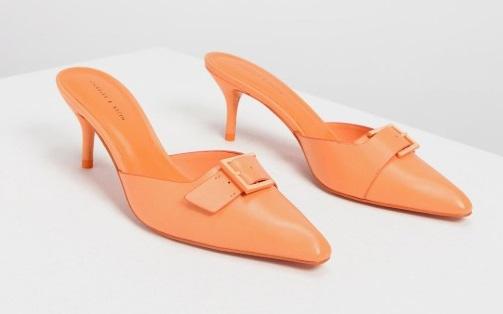 画像: バックルディテール スリッポン / Buckle Detail Slip-on Heels (Orange)¥5,500(税抜)