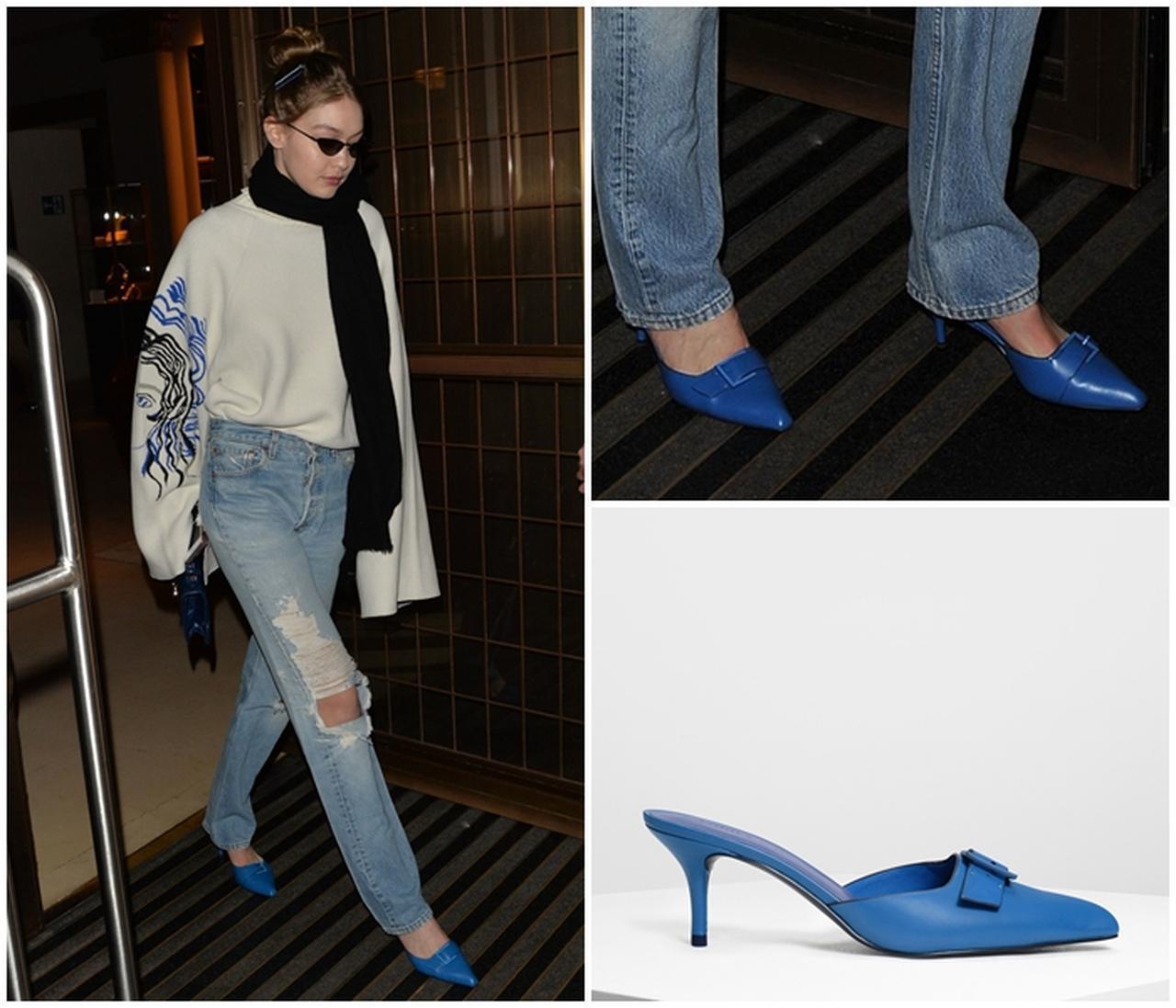 画像1: バックルディテール スリッポン / Buckle Detail Slip-on Heels (Blue)¥5,500(税抜)