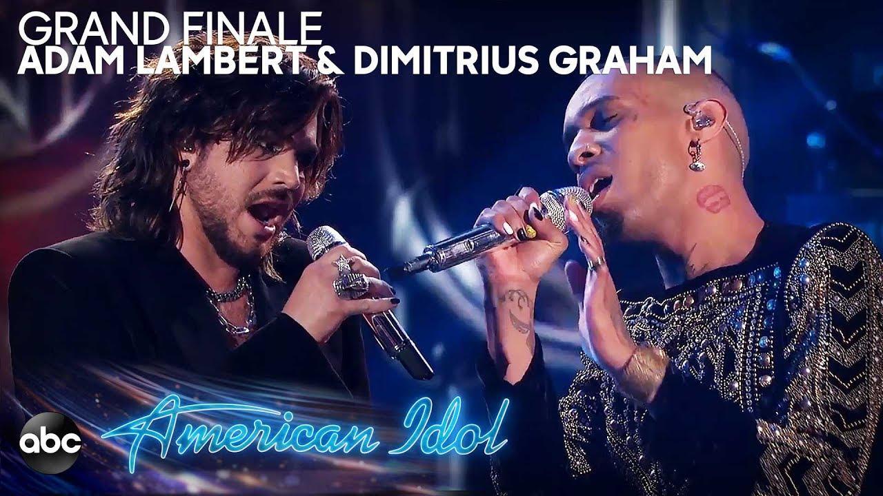 "画像: Adam Lambert & Dimitrius Graham Perform ""Bohemian Rhapsody"" by Queen - American Idol 2019 Finale youtu.be"