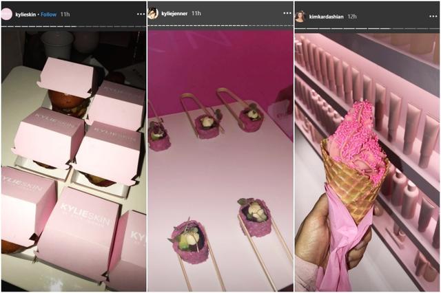 画像: ピンクのロゴ入りケースに入ったハンバーガー、ピンク色の米を使った巻き寿司、ピンクのソフトクリームも。©Kylie Skin/ Instagram