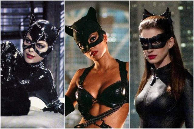 画像: 左から:1992年公開の『バットマン リターンズ』ではミシェル・ファイファー、2004年に公開されたキャット・ウーマンを主体にした映画『キャットウーマン』ではハル・ベリーが、そして2012年公開の『ダークナイト ライジング』ではアン・ハサウェイがキャット・ウーマンを演じた。