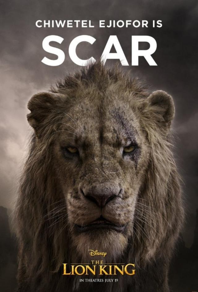 画像: キウェテル・イジョフォーが声を担当するムファサの弟で悪役のスカー。©Disney Lion King/ Twitter