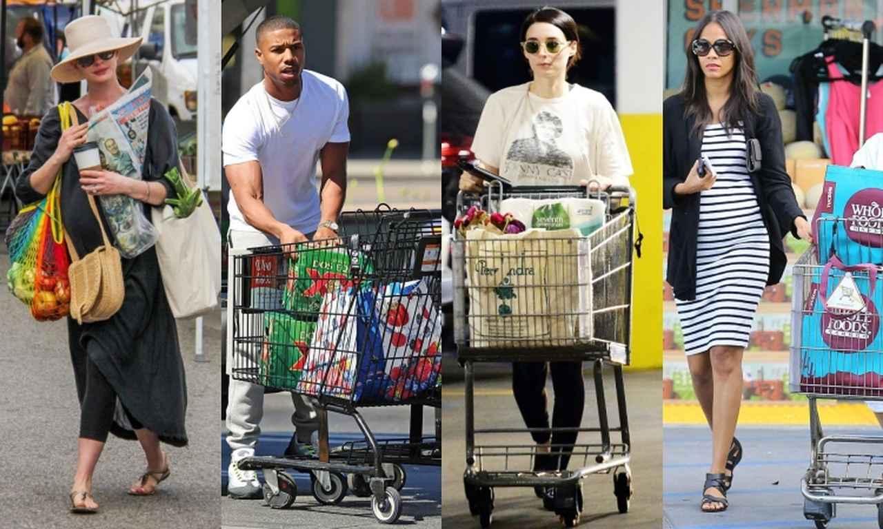 画像: エコバッグを使うセレブたち(左から):女優のアン・ハサウェイ、俳優のマイケル・B・ジョーダン、女優のルーニー・マーラ、ゾーイ・サルダナ