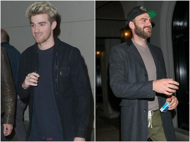 画像: レストラン前で1Dリアムだと勘違いされたドリュー(左)と、ボディガードと呼ばれ大笑いしていたアレックス(右)。