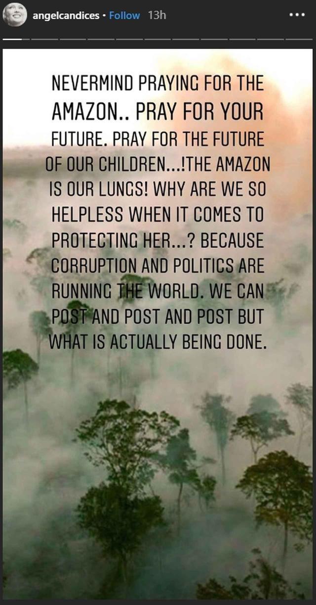 """画像: 「アマゾンは私たちの""""肺""""なの。どうして私たちは、アマゾンを守ることになると、何もできないような気になってしまうんだろう?それは、腐敗と政治が世界を支配しているから」とパワフルなメッセージを添えた。"""