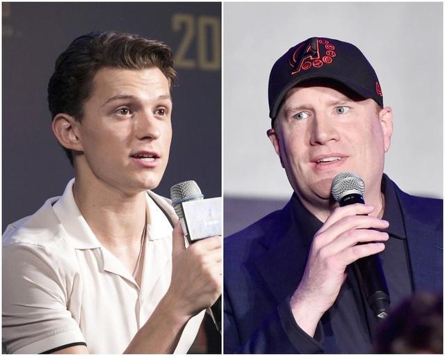画像: トム・ホランド(左)とケヴィン・ファイギ(右)。