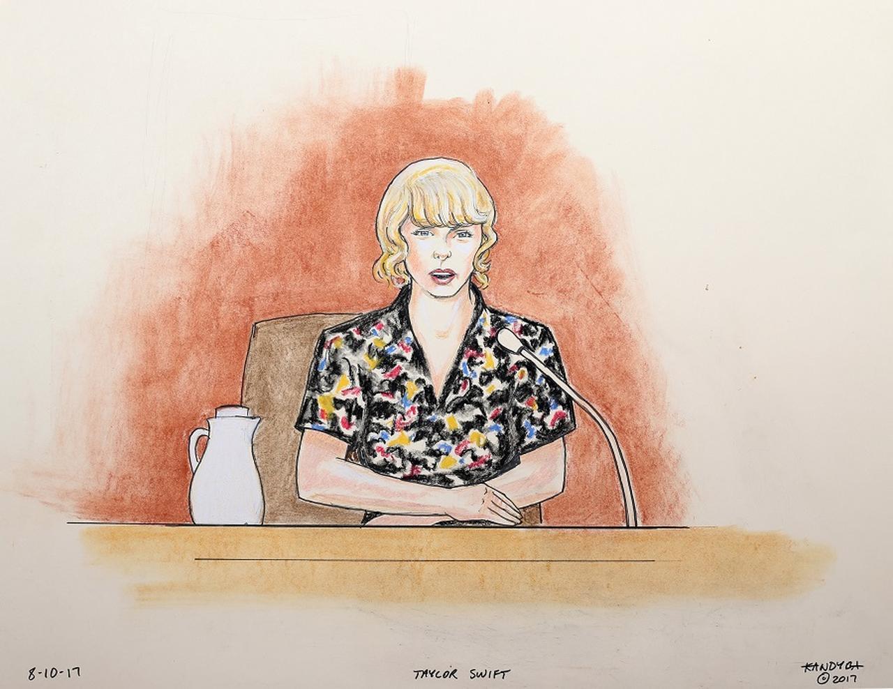 画像: 法廷で証言するテイラーの様子を描いたスケッチ。