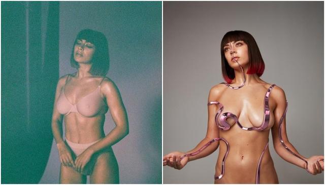 画像: 目を奪うアルバムジャケット(右)は左の写真のような方法で撮影された。©Charli XCX/Facebook