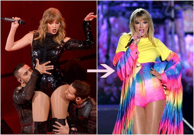画像: 左:『レピュテーション』時代、右:『ラヴァー』時代に突入したテイラー。ステージ衣装やセットなども、黒を基調としたセクシーでエッジーなものから、よりポップでカラフルなものへと変化。