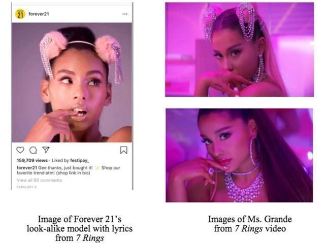 画像: アリアナ側はフォーエバー21が意図的にアリアナによく似たモデルを起用したとも指摘している。©Forever21/ Instagram