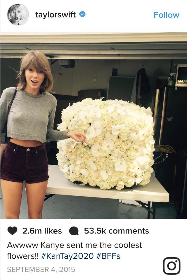 画像: インスタグラムでカニエから贈られた真っ白なバラの花束を公開したテイラー。©Taylor Swift/ Instagram