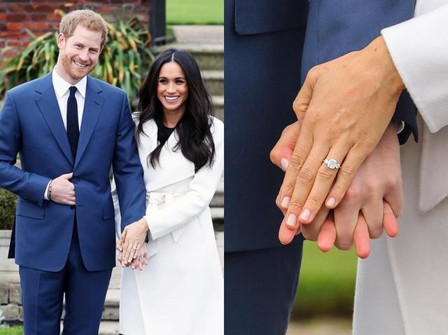 """画像: メーガン妃はその後、『SUITS/スーツ』を降板。2017年11月にヘンリー王子と婚約したことが発表され、その際には""""本物の婚約指輪""""もお披露目された。"""