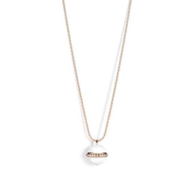 画像: ピアジェ「ポセション」 ペンダント (G33PD400) 本体価格:720,000円(税抜) 素材:18Kピンクゴールド・ダイヤモンド約0.45ct・ホワイトカルセドニー チェーンアジャスト:80/85cmモチーフ:17mm