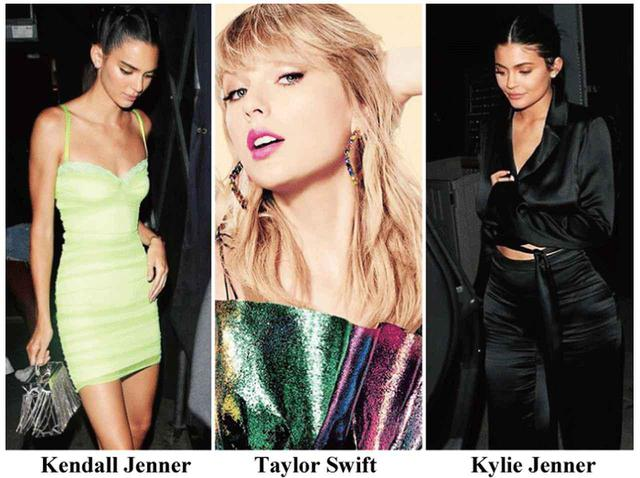 画像: エリアのバッグを愛用するトップモデルのケンダル・ジェンナー、ピアスを愛用するテイラー・スウィフト、トップス&パンツを愛用するカイリー・ジェンナー。