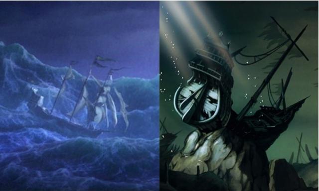画像: 左:『アナと雪の女王』に登場したアグナルとイドゥナが乗ったアレンデール王国の舟。右:『リトル・マーメイド』に登場する沈没船。