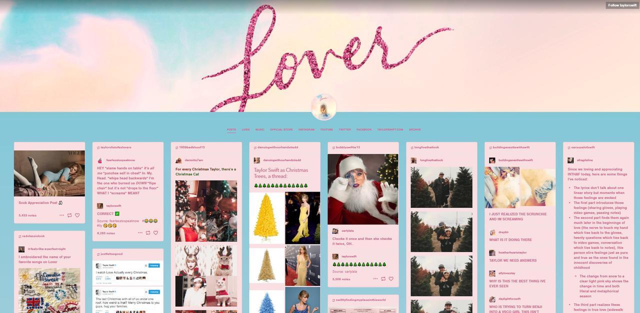 画像: テイラーのTumblrページのトップ画面。©Taylor Swift/ Tumblr
